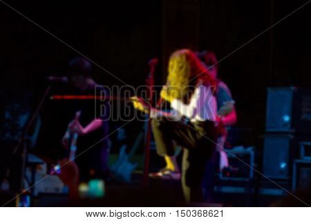 Blurred Image Of Singer On Stage In Free Night Concert