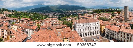 Panorama of Bergamo seen from the old town Italy