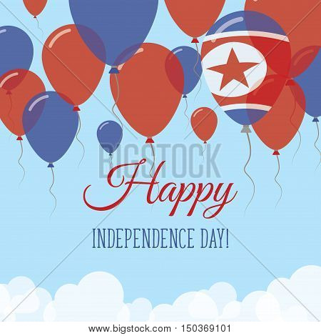 Korea, Democratic People's Republic Of Independence Day Flat Greeting Card. Flying Rubber Balloons I