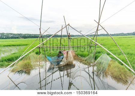 Fishnet With Fisherman