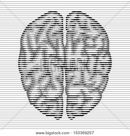 retro vintage  halftone lines bitmap black and white brain
