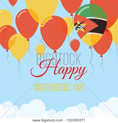 Mozambique Independence Day Flat Greeting Card. Flying Rubber Balloons In Colors Of The Mozambican F