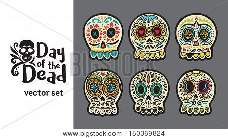 Set of illustrations with skulls. Mexican day of the dead. Freehand drawing.