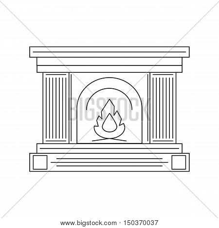 The fireplace in the style of the line of fire. Vector illustration.