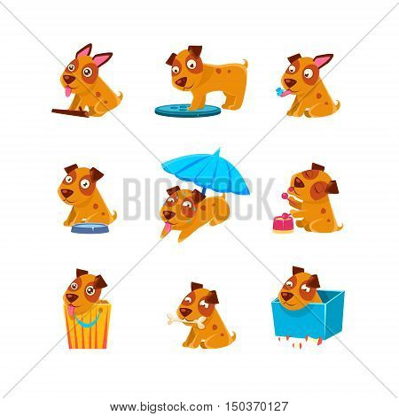 Puppy Everyday Activities Collection Of Silly Childish Drawings Isolated On White Background. Funny Animal Colorful Vector Stickers Set.