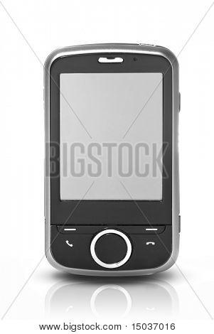 PDA con pantalla táctil, aislada en blanco