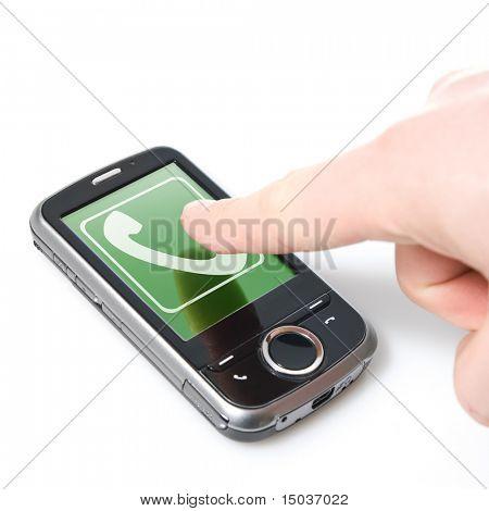 dedo e pda com a chamada de entrada isolada no branco