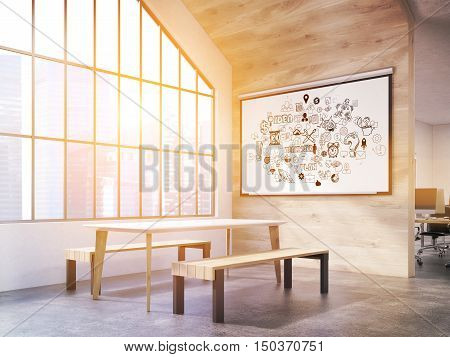 Sunlit office interior with whiteboard with business icons table and benches and attic window. New York City. Concept of office canteen. 3d rendering. Toned image