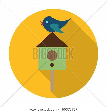 starling, birdhouse flat icon with long shadow for web design