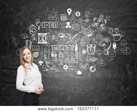 Girl With Blond Hair Near Blackboard With Business Icon
