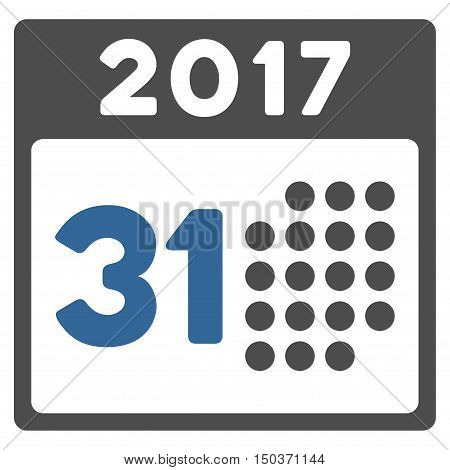Last 2017 Month Day vector pictograph. Style is flat graphic symbol, cobalt and gray colors, white background.