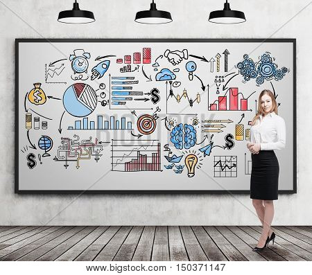 Smiling blond businesswoman standing near whiteboard with bright business ideas on it. Concept of creativity in business