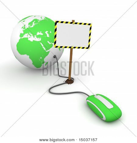 Surfing The Web In Green - Blocked By A White Rectangular Sign With Warning Stripes