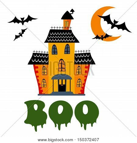 Boo card with haunted house. Illustration in vector format