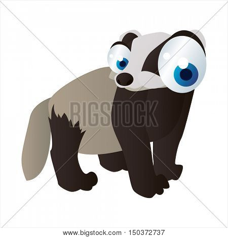 vector cute isolated animal character illustration. Funny Badger