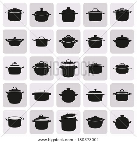 Black simple pans icon set on white background. Elements for company print products page and web decor. Vector illustration.