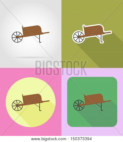 gardening equipment wheelbarrow flat icons vector illustration isolated on background