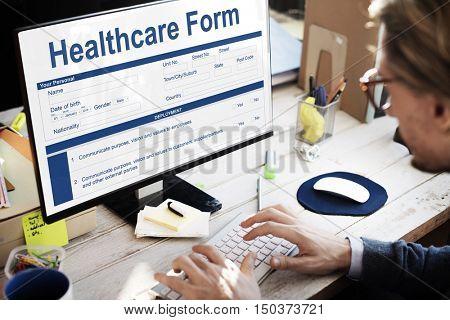 Heathcare Form Insurance Application Concept