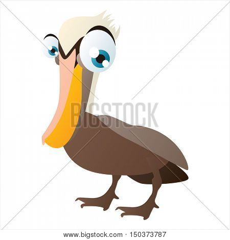 vector cute isolated animal character illustration. Bird. Funny Pelican
