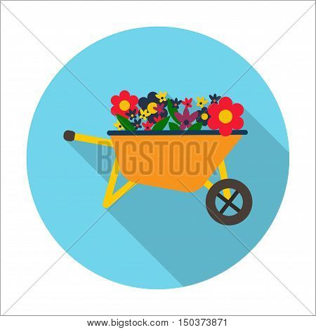flowers, wheelbarrow flat icon with long shadow for web design