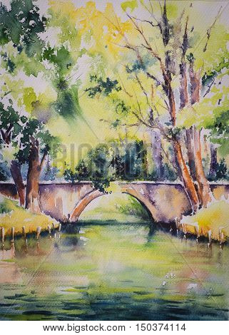 Landscape with bridge over pond and trees. Watercolor illustration.