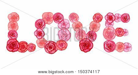 Love made of flowers on The international women's day March 8 and Happy Valentines Day. Raster hand drawn watercolor begonia flowers bouquet.
