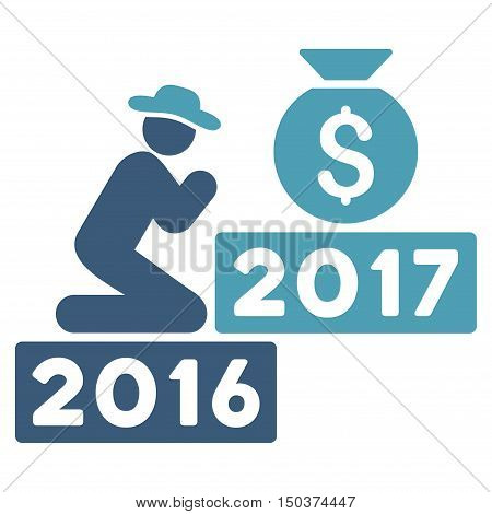 Pray for Money 2017 vector icon. Style is flat graphic symbol, cyan and blue colors, white background.