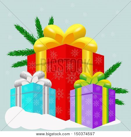 Gifts vector illustration. Christmas gifts. Gift wrapped in wrapping paper for Christmas