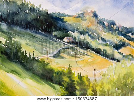 Watercolor illustration of a summer landscape-cottage house on a hill