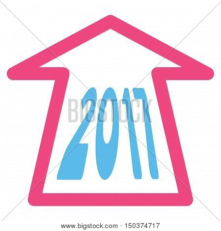 2017 Ahead Arrow vector icon. Style is flat graphic symbol, pink and blue colors, white background.