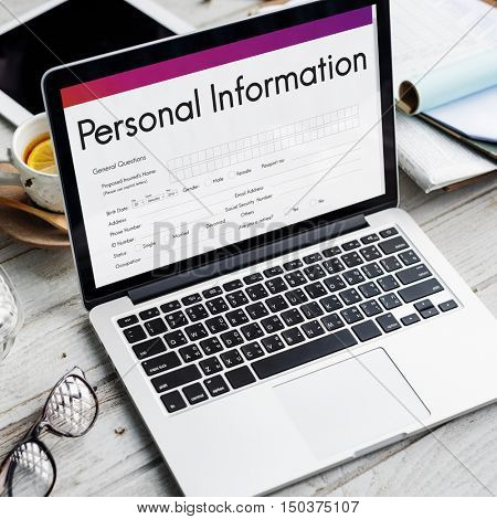 Personal Information Form Identity Concept