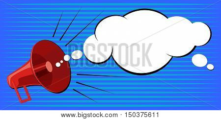 Speaker announces information. Stock Vector Pop Art on a blue background