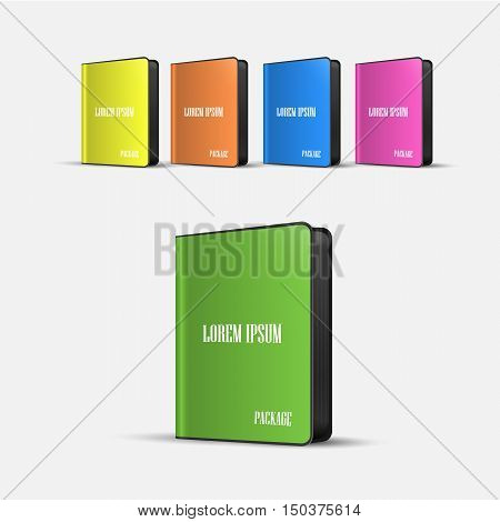 colored Software Boxes Package With Rounded Corners