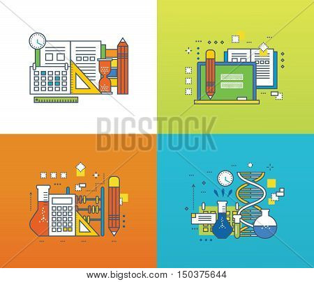 Concept of modern education and discipline, scientific research and experiments, online courses. Color Line icons collection. Vector design for website, banner.