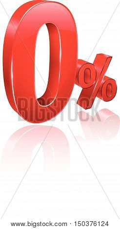 Red Zero percent 3D style. Vector illustration. Can use for promotion advertising pay by installments.