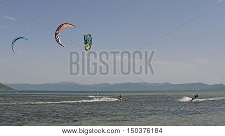 Blace, Croatia - June 18th 2016. Students practice kite surfing at a kite surfing school near the coastal Croatian village of Blace.