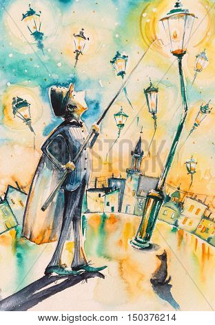 Lamplighter lights a street gas lamps. Picture created with watercolors.