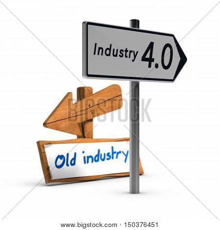 3D illustration of two road signs with the texts industry 4.0 and old industry over white background