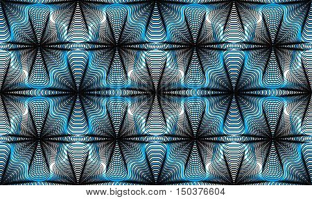 Continuous blue vector pattern with graphic lines decorative abstract background with overlay shapes.