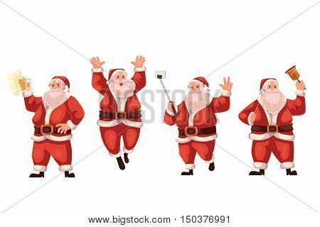 Set of Santa Claus cartoon style vector illustrations isolated on white background. Santa Claus jumping, ringing a bell, making selfie and drinking beer, Christmas decoration element