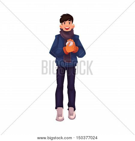 Handsome young man making a snowball, cartoon vector illustration isolated on white background. Full height portrait of black haired man with a snowball, fun winter activity, outdoor leisure time