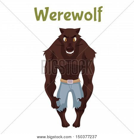 Scary werewolf, Halloween costume idea, cartoon style illustration isolated on white background. Frightening werewolf, shape shifter, traditional symbol of Halloween and fairytale character
