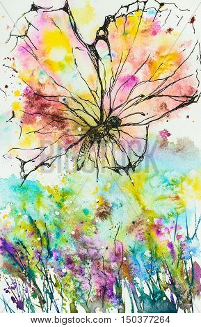 Hand drawing abstract butterfly, created with ink and watercolor.