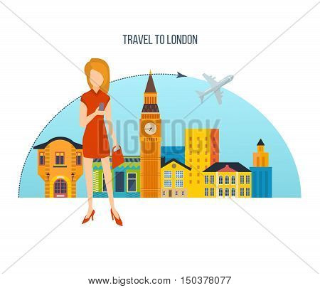 Concept of a trip to London, a visit to the city and its attractions. Girl with a bag and a mobile phone on the background city London. Vector design for website, banner, mobile app.