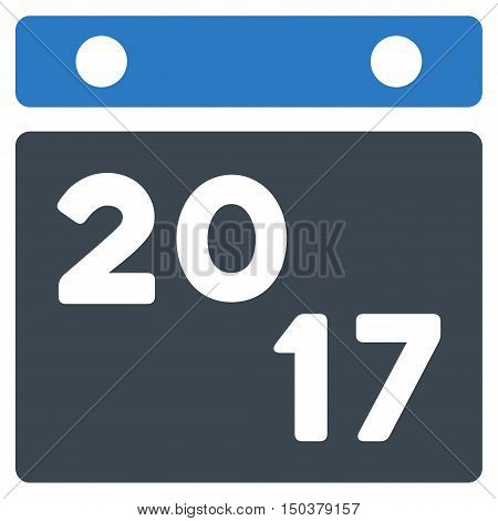 2017 Calendar vector pictogram. Style is flat graphic symbol, smooth blue colors, white background.