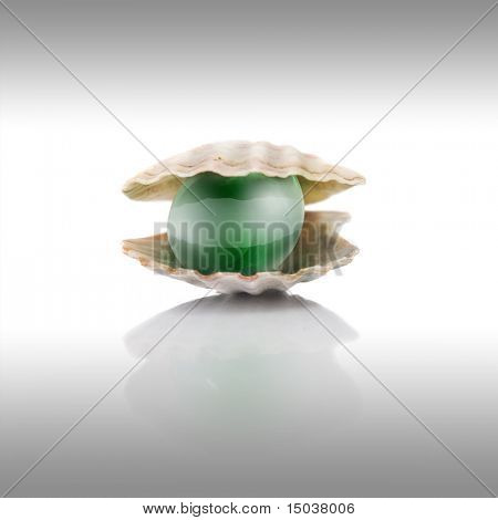 stylized green pearl on white