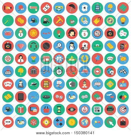 Gambling, game, Poker, casino 100 flat icons. Flat Casino, gambing game icon design for web and mobile.