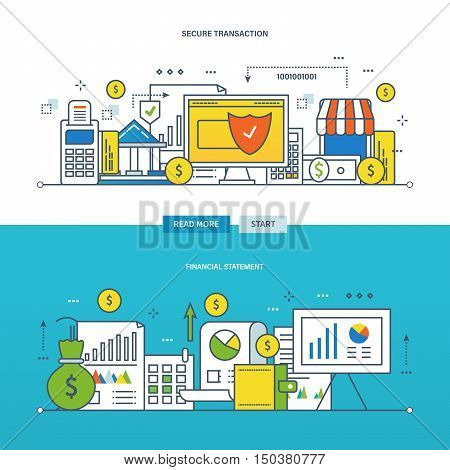 Concept of financial management and reporting, security of the transaction. Color Line icons collection. Vector design for website, banner.