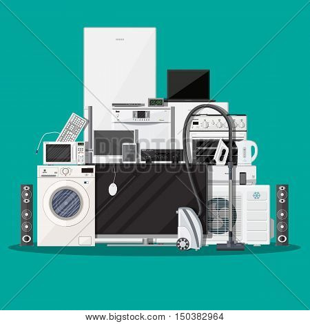 Household Appliances and Electronic Devices on green background. vector illustration in flat style