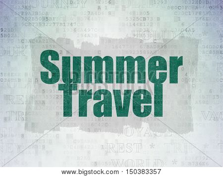 Travel concept: Painted green text Summer Travel on Digital Data Paper background with   Tag Cloud